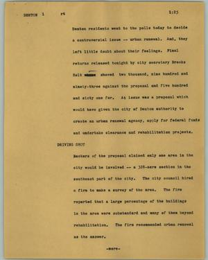 Primary view of object titled '[News Script: Denton]'.