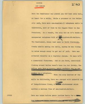 Primary view of object titled '[News Script: Hippie]'.