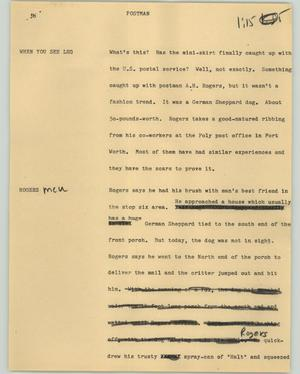 Primary view of object titled '[News Script: Postman]'.