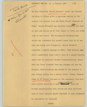 Primary view of object titled '[News Script: Eidenoff hearing]'.