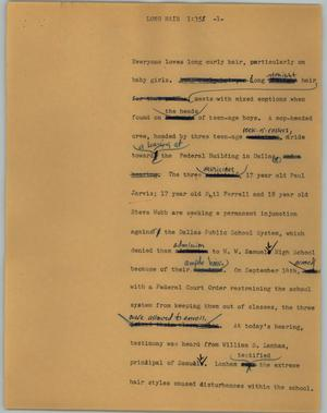 Primary view of object titled '[News Script: Long hair]'.