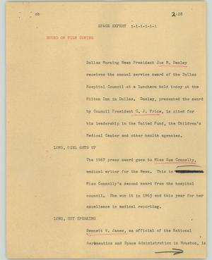 Primary view of object titled '[News Script: Space expert]'.