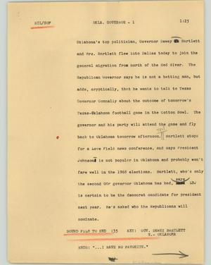 Primary view of object titled '[News Script: Okla. Governor]'.
