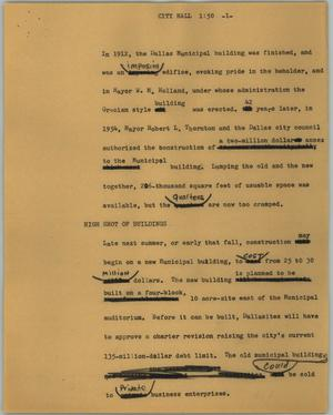 Primary view of object titled '[News Script: City hall]'.