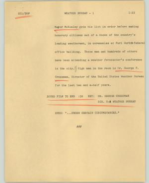 Primary view of object titled '[News Script: Weather Bureau]'.