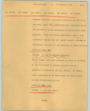 Primary view of object titled '[News Script: SMU Institute]'.