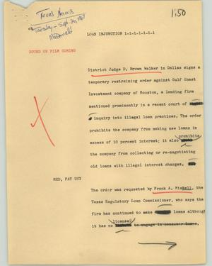 Primary view of object titled '[News Script: Loan injunction]'.