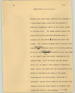 Primary view of object titled '[News Script: Crash Folo]'.