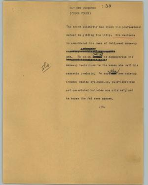 Primary view of object titled '[News Script: Ol' Ern Westomre]'.
