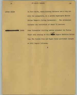 Primary view of object titled '[News Script: Ft Worth parade]'.