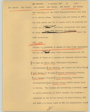 Primary view of object titled '[News Script: NBC Newsmen]'.