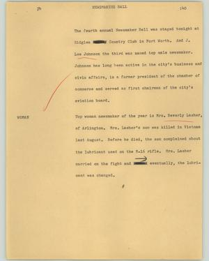 Primary view of object titled '[News Script: Newsmakers ball]'.