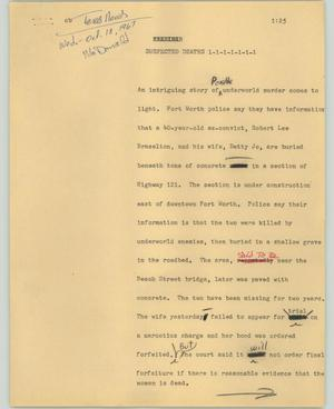 Primary view of object titled '[News Script: Suspected deaths]'.