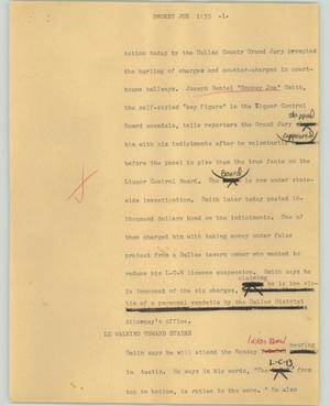 Primary view of object titled '[News Script: Smokey Joe]'.