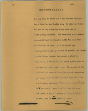 Primary view of object titled '[News Script: Tire company]'.
