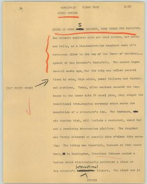 Primary view of object titled '[News Script: Hemisfair]'.