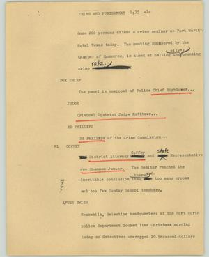Primary view of object titled '[News Script: Crime and punishment]'.