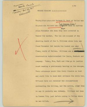 Primary view of object titled '[News Script: Murder hearing]'.