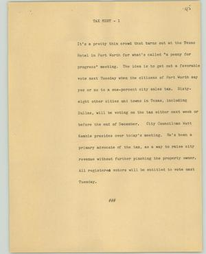 Primary view of object titled '[News Script: Tax meet]'.