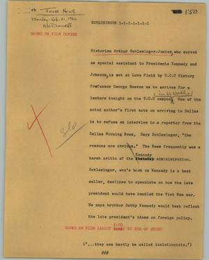 Primary view of object titled '[News Script: Schlesinger]'.