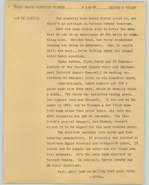 Primary view of object titled '[News Script: Water board election]'.
