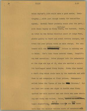 Primary view of object titled '[News Script: Helen]'.