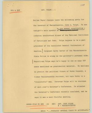 Primary view of object titled '[News Script: Gov. Volpe]'.