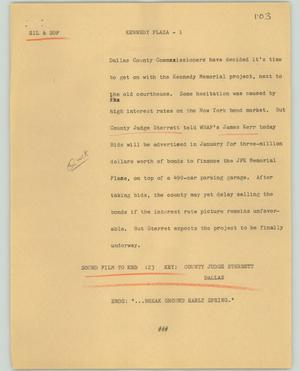 Primary view of object titled '[News Script: Kennedy Plaza]'.