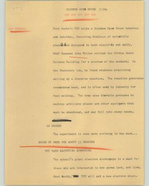 Primary view of object titled '[News Script: Sciemce open house]'.