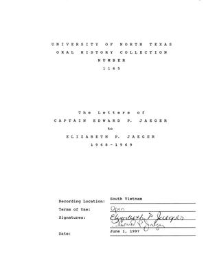 Primary view of object titled 'The Letters of Captain Edward P. Jaeger to Elizabeth P. Jaeger 1968-1969'.