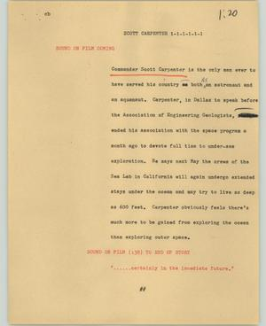 Primary view of object titled '[News Script: Scott Carpenter]'.