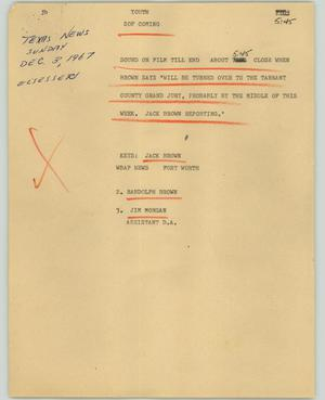 Primary view of object titled '[Cue Sheet and Script: Youth]'.