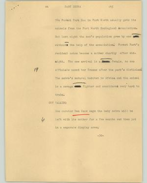 Primary view of object titled '[News Script: Baby zebra]'.