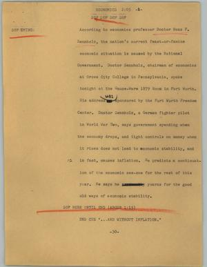 Primary view of object titled '[News Script: Economics]'.