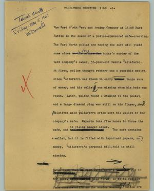 Primary view of object titled '[News Script: Taliaferro shooting]'.