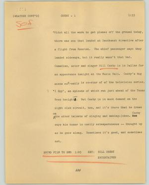 Primary view of object titled '[News Script: Cosby]'.