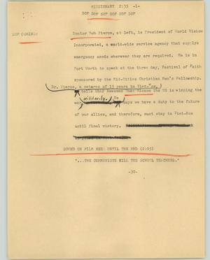 Primary view of object titled '[News Script: Missionary]'.