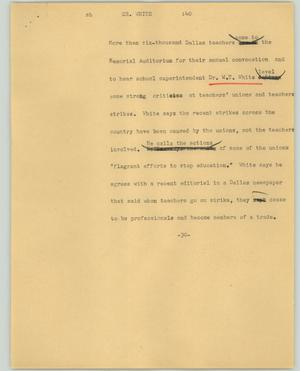 Primary view of object titled '[News Script: Dr. White]'.