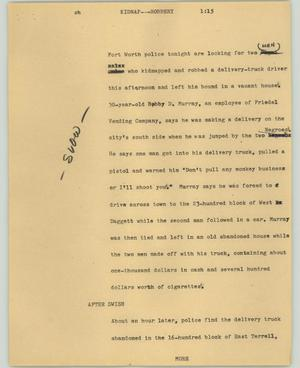 Primary view of object titled '[News Script: Kidnap---Robbery]'.