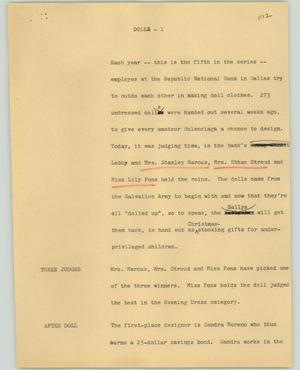 Primary view of object titled '[News Script: Doll]'.