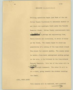 Primary view of object titled '[News Script: Drilling]'.