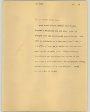 Primary view of object titled '[News Script: Cop hunt]'.