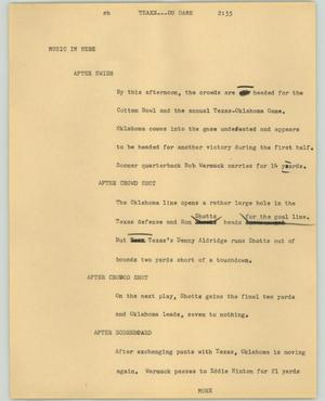 Primary view of object titled '[News Script: Texas-OU Game]'.