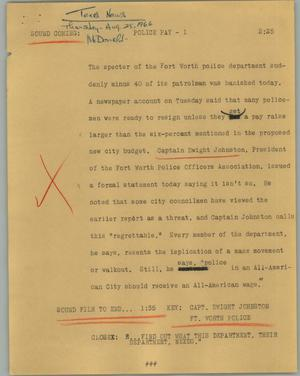 Primary view of object titled '[News Script: Police pay]'.