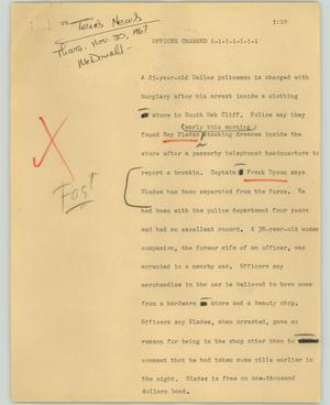 Primary view of object titled '[News Script: Officer charged]'.