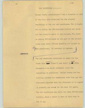 Primary view of object titled '[News Script: Old courthouse]'.