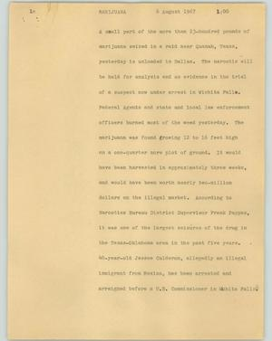 Primary view of object titled '[News Script: Marijuana]'.