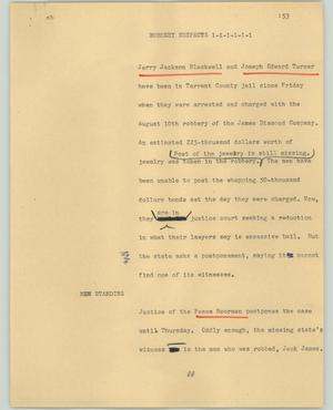 Primary view of object titled '[News Script: Robbery suspects]'.