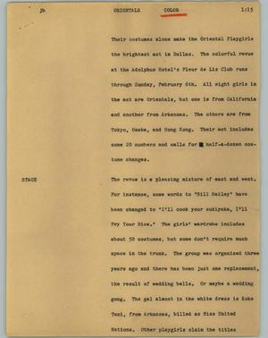 Primary view of object titled '[News Script: Orientals]'.