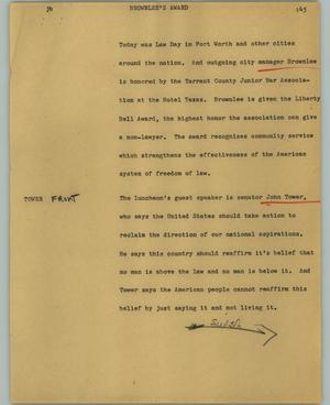 Primary view of object titled '[News Script: Brownlee's award]'.